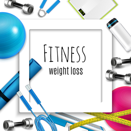 Fitness weight loss healthy lifestyle accessories, white square frame with skip rope dumbbells scale. Realistic vector illustration.