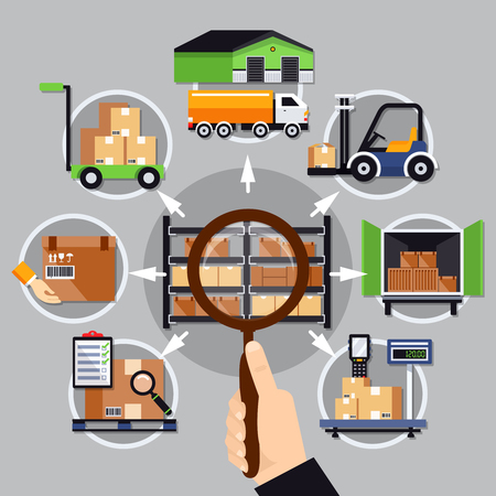 Choice of warehouse composition on grey background with magnifier in hand, logistic services vector illustration. Çizim