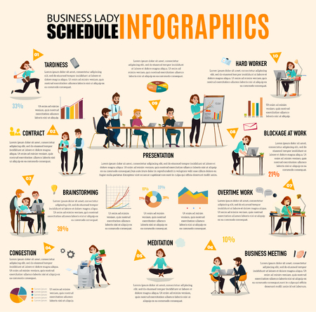 Time management info-graphics layout with business lady schedule in images accompanied by text. Flat vector illustration.