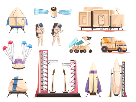 Space research technology cartoon icons collection with spacecraft launch, moon, astronauts and satellite. Isolated vector illustration. Ilustração