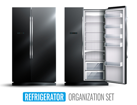 Refrigerator organization monochrome set of opened and closed empty wider fridge on white background. Realistic vector illustration.