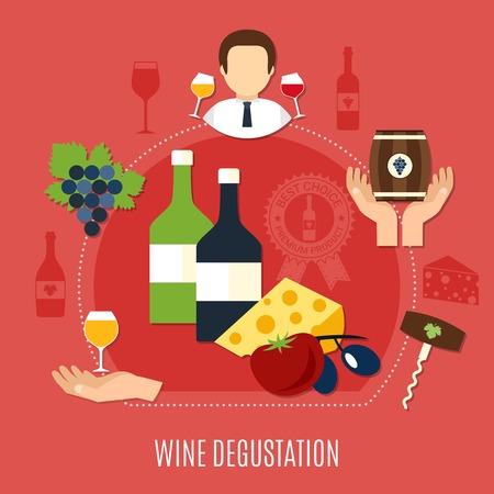 Flat design wine degustation various starters and sommelier concept on pink background. Vector illustration.