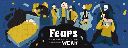 人間は悪夢と恐怖症のシンボルを持つポスターを恐れる。フラット ベクトルイラストレーション。