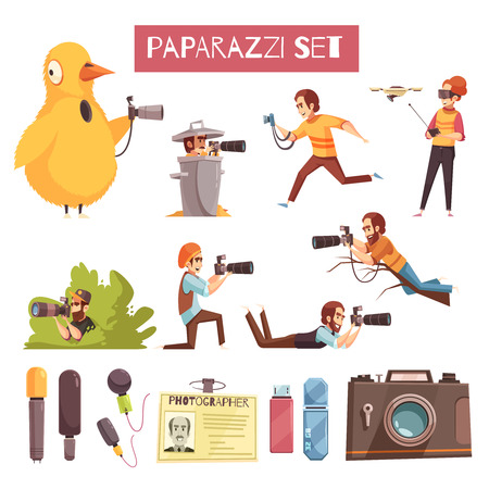 Paparazzi photographers taking pictures cartoon icons collection with camera, microphone, id card and usb stick. Vector illustration.
