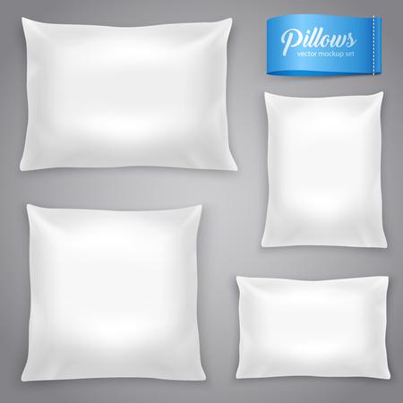 Witte realistische binnenkussens kussens met vulling voor zachte ondersteuning. Rechthoekige en vierkante modellen vector illustratie. Stock Illustratie