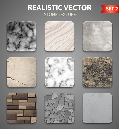 Stone textures samples for wall interior decor and garden design. 9 realistic icons collection. Isolated vector illustration. Vettoriali
