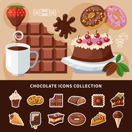 Chocolate products collection of flat icons with cake, donuts, ice cream, Swiss roll, cookie. Isolated vector illustration.