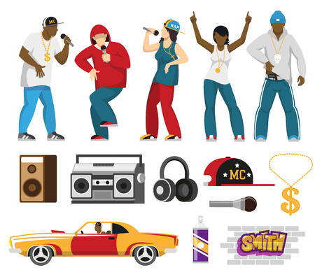 Rap music singers with accessories, mic, cap, retro car, loudspeakers, microphone. Flat icons collection. Isolated vector illustration.