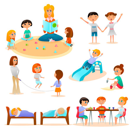 Kindergarten characters flat icon collection with kids playing in sand, skipping rope, sleeping, eating. Isolated vector illustration.