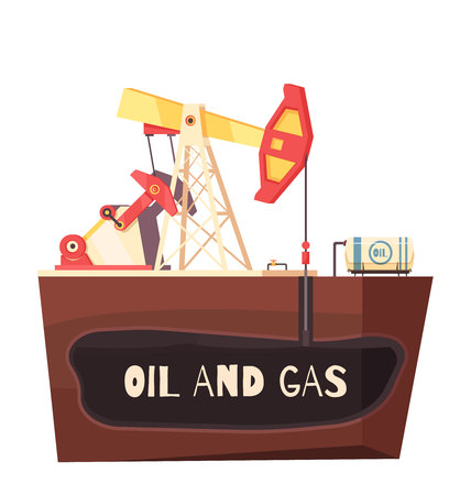 Oil production conceptual composition with flat sectional view of rig site with sucker-rod pumping unit. Vector illustration.