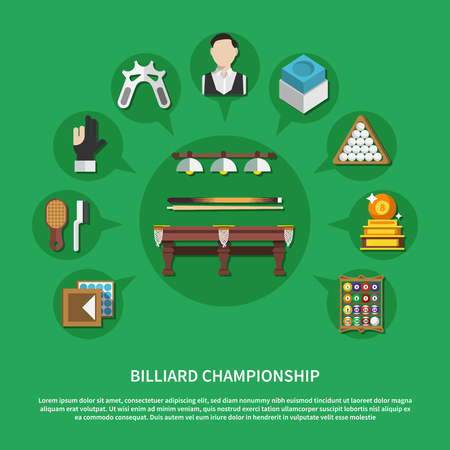 Billiard championship flat composition on green background with game equipment, players, trophy, cleaning accessories. Vector illustration.