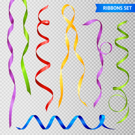 Set of realistic twisted glossy colorful ribbons with loops. Isolated on transparent background vector illustration.