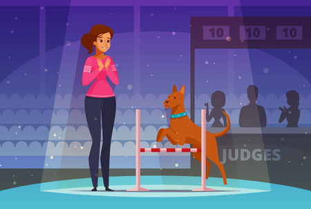 Pet competition cartoon composition with female owner, judges and dog jumping over barrier. Vector illustration.
