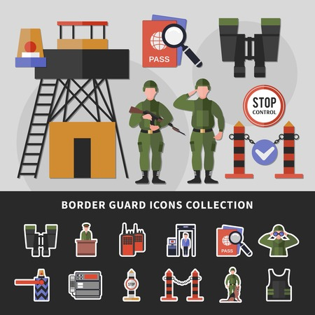 Stop control border guard apparel and equipment icons collection set. Flat isolated vector illustration. Vectores