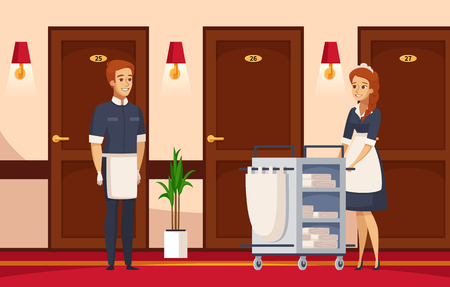 Hotel staff cartoon composition with cleaner and chambermaid, engaged in performance of service duties. Vector illustration.