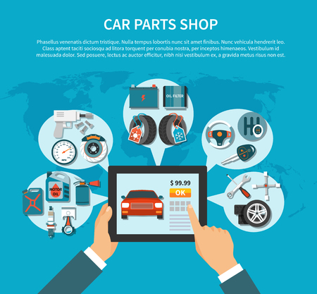 Tire service flat design concept with online shopping of car spares. Vector illustration.
