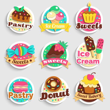 Sweets ice-cream cupcakes donuts confectionery bakery desserts colorful round emblems labels collection grey background isolated vector illustration Vectores