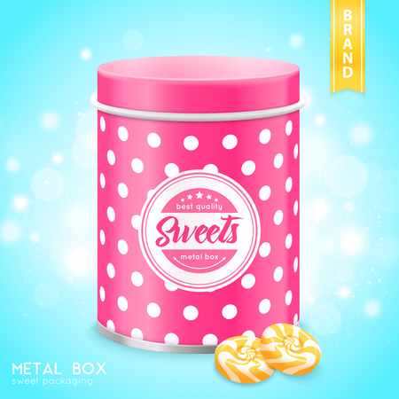 Pink tin metal box sweets cookies container realistic close-up image with shining bubbles background vector illustration