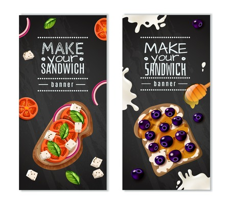 Gastronomic vertical banners with make your sandwich title and sweet and vegetable types of dish vector illustration