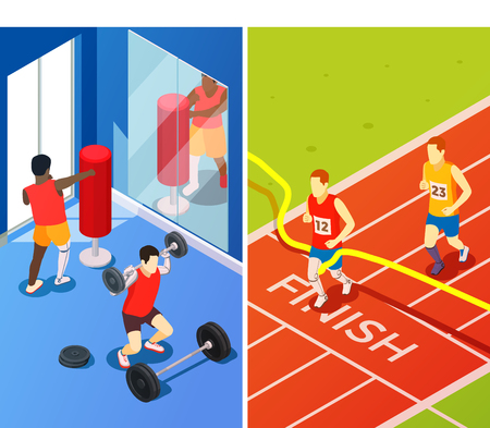 Bionics technology perfecting life quality vertical banners with people having prosthesis involved in sport isometric vector illustration Stock Vector - 94566768