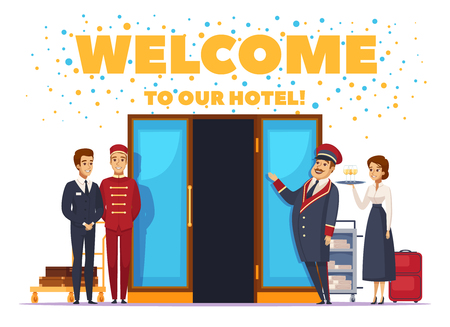 Bem-vindo ao cartaz de desenho animado do hotel com pessoal do hotel hospitaleiro perto de ilustração vetorial de portas abertas