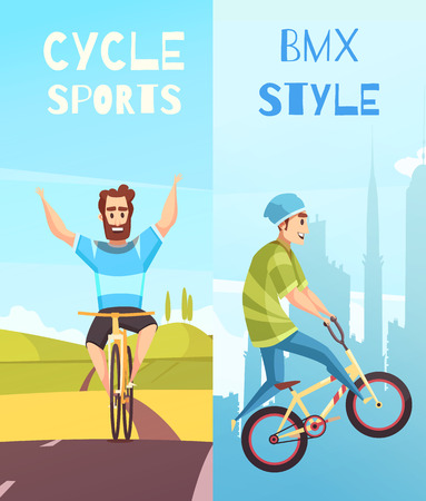 Cycling sports 2 cartoon vertical banners with bicycle competitive racing and off-road recreation vector illustration