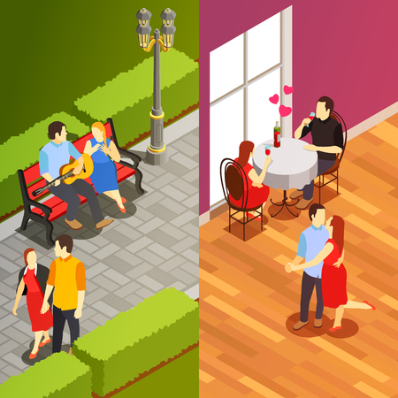 Dating vertical banners with couples having romantic dinner in restaurant and meeting in city park isometric vector illustration