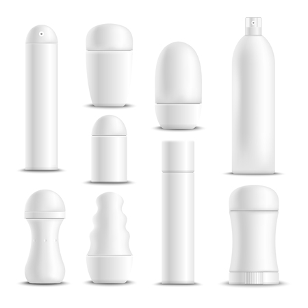 Desodorantes spray varas e roll-on tipos antitranspirantes branco em branco mock-up conjunto realista ilustração vetorial isolado