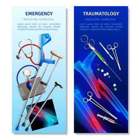 Surgical traumatology vertical banners with medical tools and x-ray snapshots for emergency help isolated vector illustration