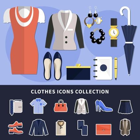 Kleidungsikonensammlung mit flachen Garderobeneinzelteilen in der flachen Art färbte und lokalisierte Vektorillustration Standard-Bild - 94566893