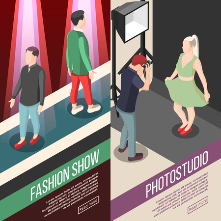 Fashion industry vertical isometric banners with men models on podium and photo studio isolated vector illustration 向量圖像