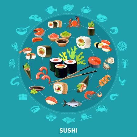 De sushi om samenstelling met vlakke pictogramreeks combineerden in grote cirkel gekleurde en geïsoleerde vectorillustratie