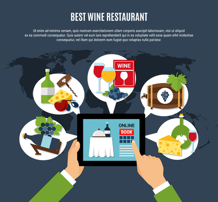 Online booking of best wine restaurant concept on dark background flat vector illustration