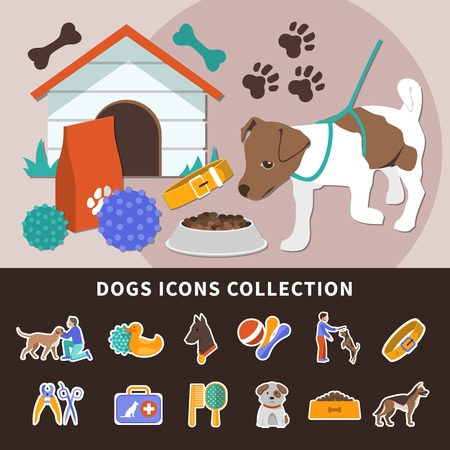 Dogs set of isolated emoji style icons with different toys and accessories for pets with pawprints vector illustration