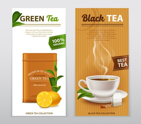 Black and green high quality organic tea advertisement 2 realistic vertical banners with fresh leaves vector illustration