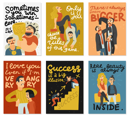 Competitive cards set with love and success symbols flat isolated vector illustration