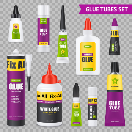 Glue sticks bottles tubes with various types adhesives realistic images set on gray transparent background vector illustration
