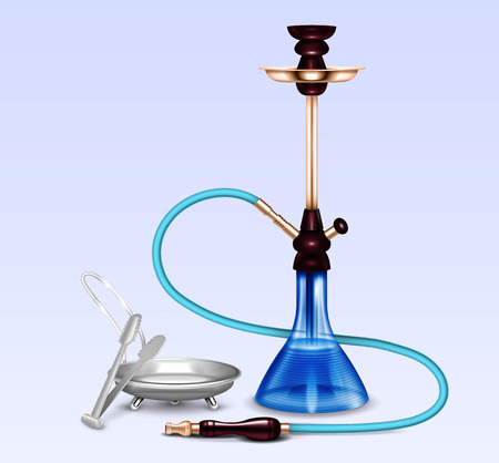 Hookah water pipe hubbly bubby smoking accessories set realistic close-up image with coal tray vector illustration  Illustration