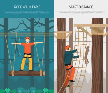 吊り下げログバランスと登山練習2平上垂直バナーベクトルイラストでロープウォーキングパーク活動