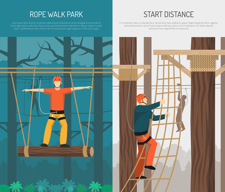 Rope walking park activities with hanging log balance and climbing practice 2 flat vertical banners vector illustration