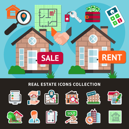 Real estate colored composition with isolated icon collection combined in flat flyer vector illustration