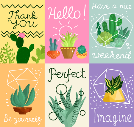 Succulent cards set with greetings symbols flat isolated vector illustration