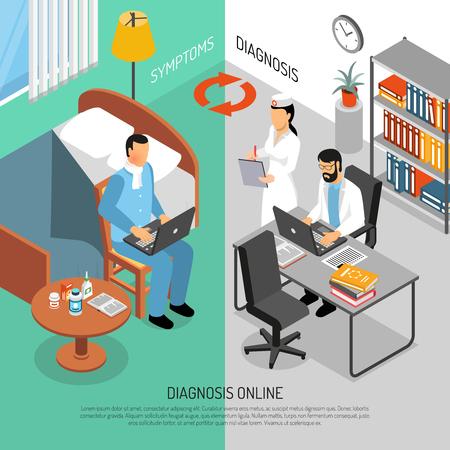 Online artsen die wereldwijd symptomen controleren voor diagnosebehandeling en voorschriften 2 verticale isometrische banners geplaatst vectorillustratie Stock Illustratie