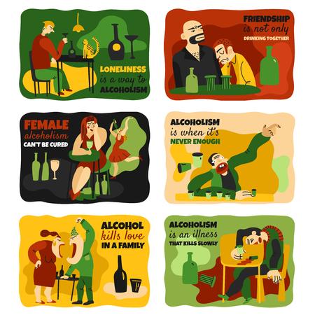 Alcohol addiction cards set with alcoholism symbols flat isolated vector illustration.