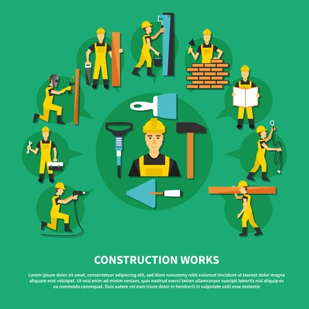 Construction worker green and flat composition with different types of construction works vector illustration