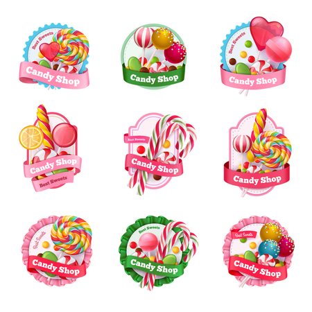 Candy shop set of emblems with colorful fruit lollipops of various shape, spiral sweets isolated vector illustration