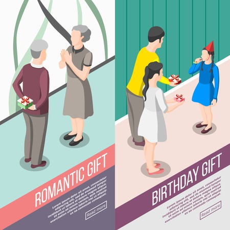 Set of vertical isometric banners people with gifts during romantic meeting and birthday congratulation isolated vector illustration Çizim