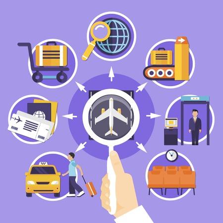 空港待合室の滑走路カスタムコントロール荷物チケットと乗客ベクトルイラストとフラットコンセプト
