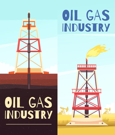 Set of two vertical oil production banners with view of oil-well derrick and editable text vector illustration