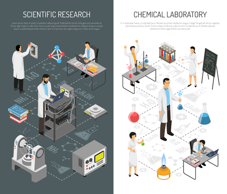 Isometric scientific laboratory banners set with editable text and icons of equipment with people in uniform vector illustration Foto de archivo - 94569690